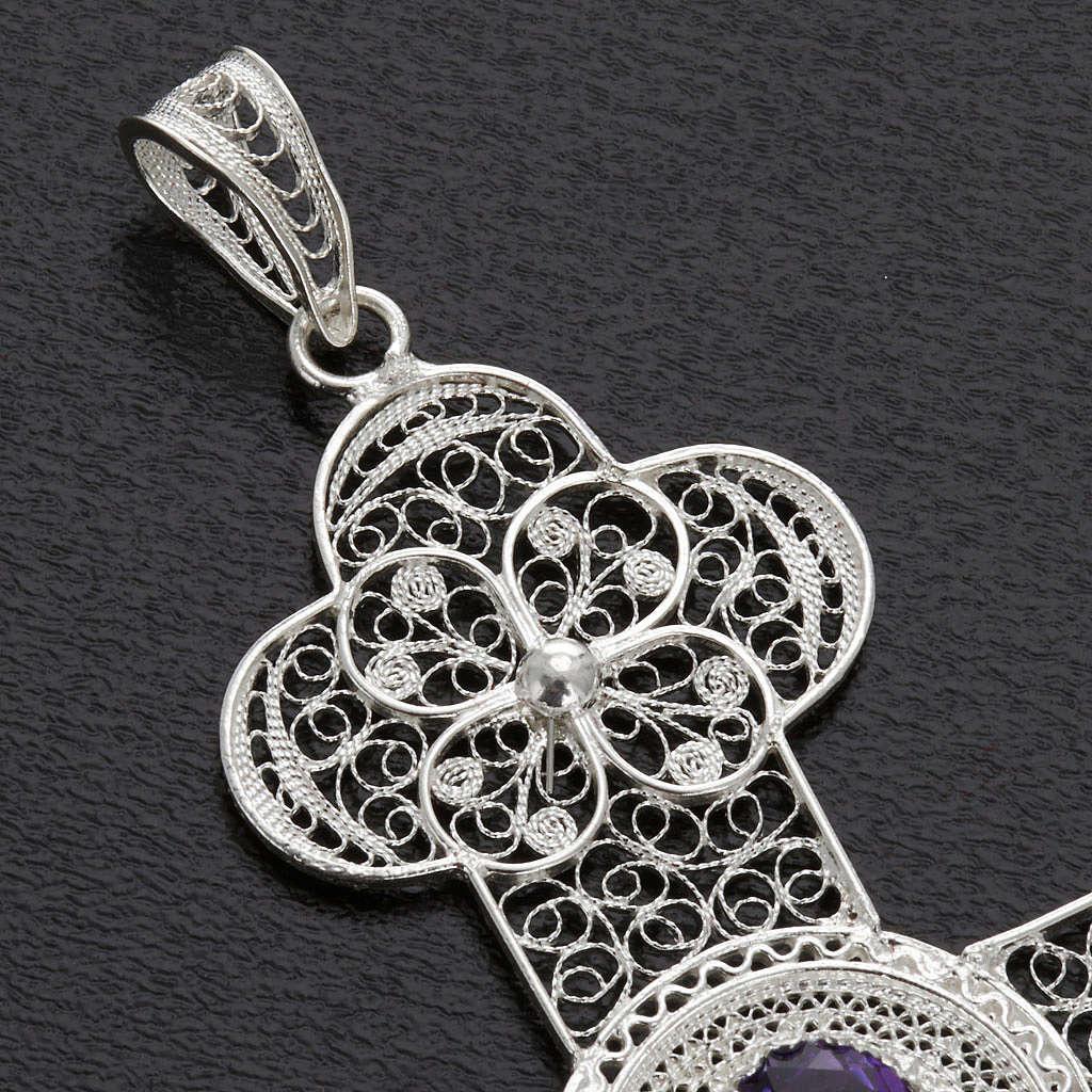 Pendente croce ametista filig. argento 800 - gr. 10,8 4