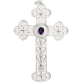 Pendente croce ametista filig. argento 800 - gr. 10,8 s1