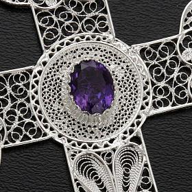 Cross pendant, 800 silver, amethyst 10,8g s4