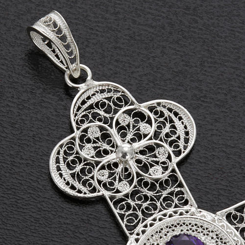Cross pendant, 800 silver, amethyst 10,8g 3