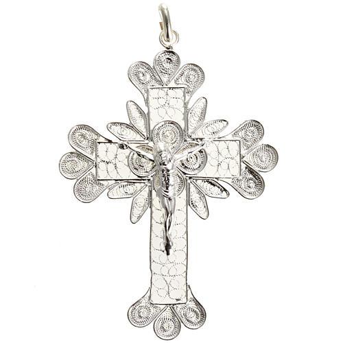 Cruz Colgante de plata 800 de filigrana y el cuerpo de Cristo 1