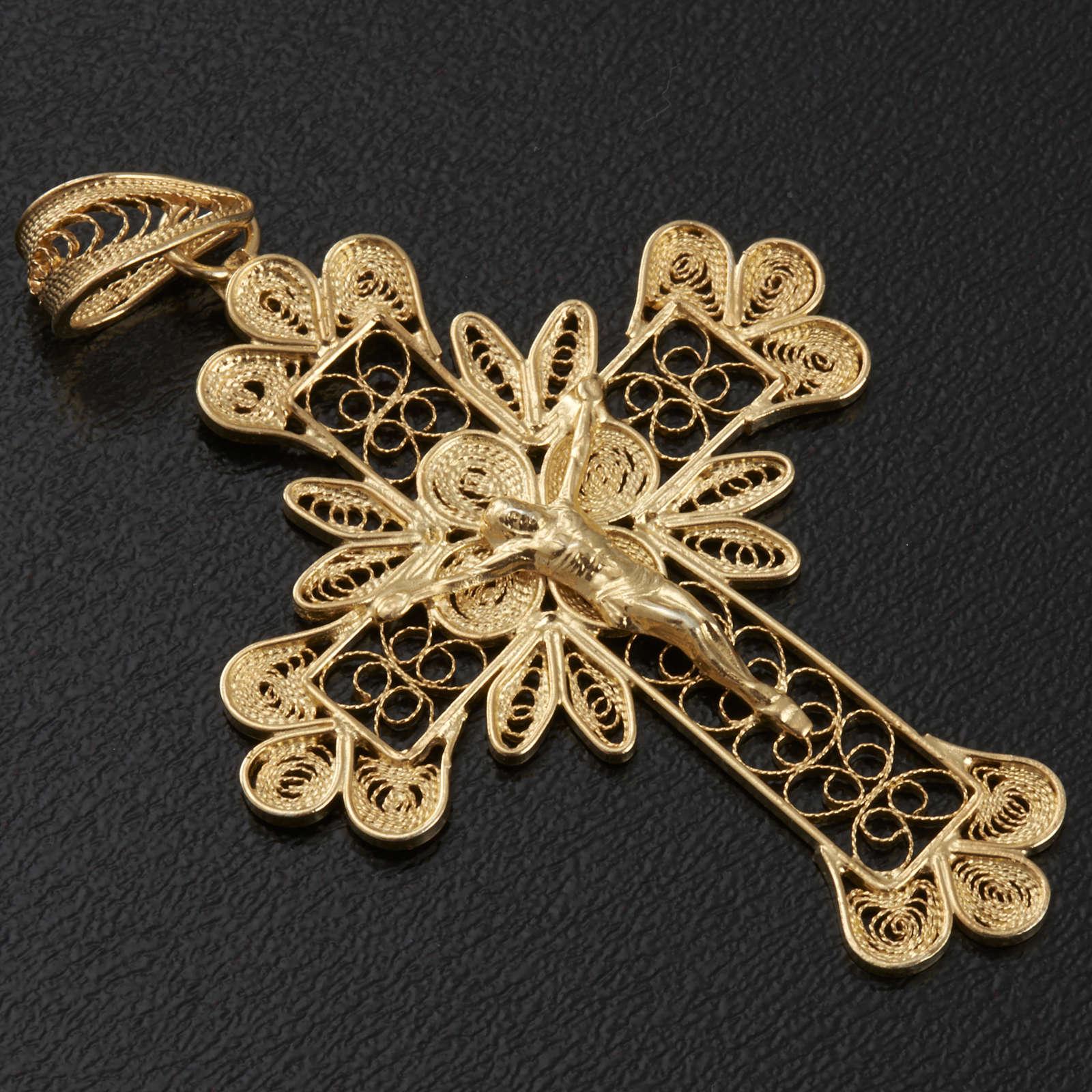 Pendente croce argento 800 filigrana bagno oro - gr. 3.5 4