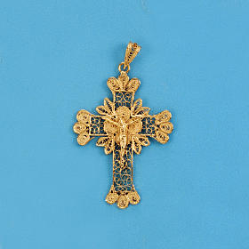 Pendente croce argento 800 filigrana bagno oro - gr. 3.5 s1