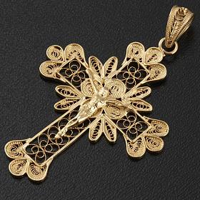 Pendente croce argento 800 filigrana bagno oro - gr. 3.5 s4