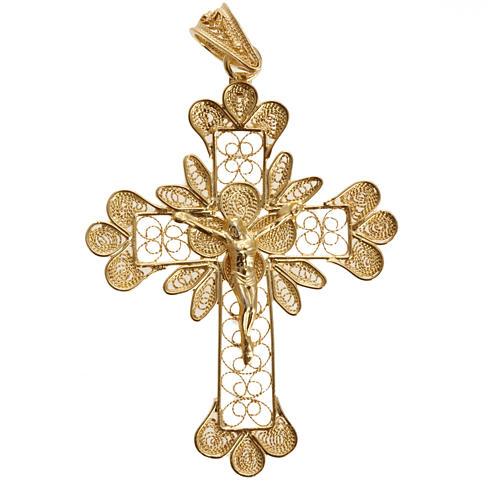 Pendente croce argento 800 filigrana bagno oro - gr. 3.5 2