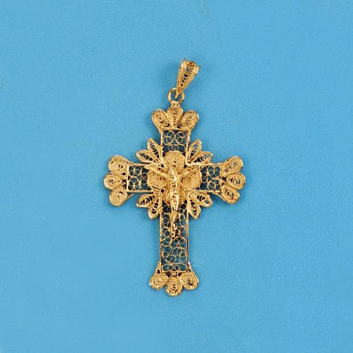 Pendente croce argento 800 filigrana bagno oro - gr. 3.5 1