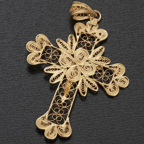 Pendente croce argento 800 filigrana bagno oro - gr. 3.5 6