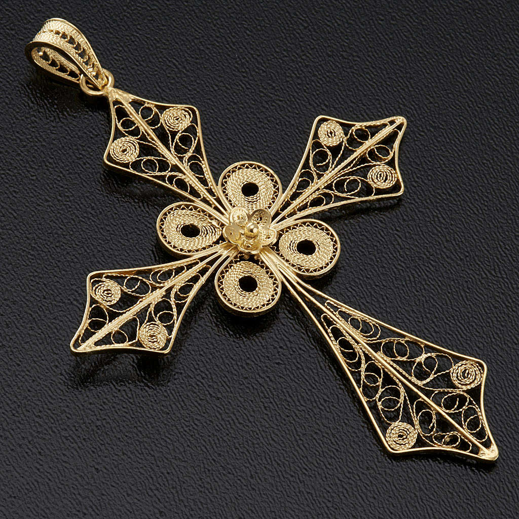 Colgante de cruz en filigrana de plata 800 y baño de oro 4