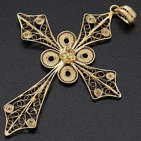 Colgante de cruz en filigrana de plata 800 y baño de oro s3