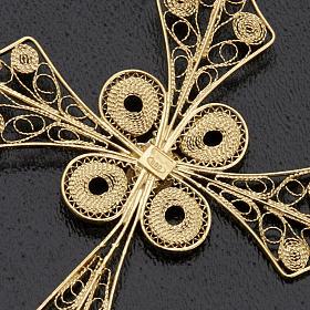 Colgante de cruz en filigrana de plata 800 y baño de oro s4