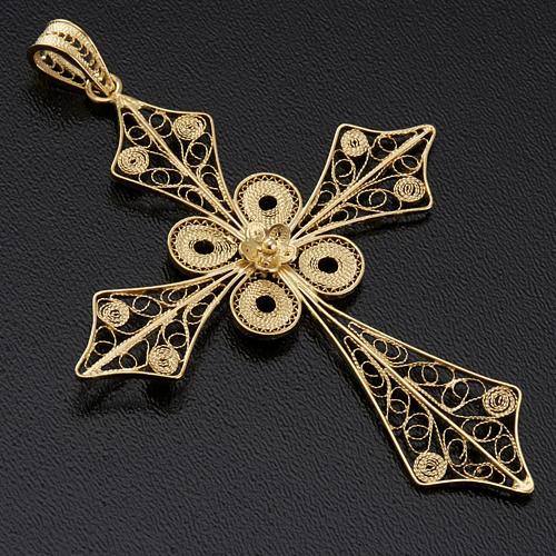 Colgante de cruz en filigrana de plata 800 y baño de oro 2