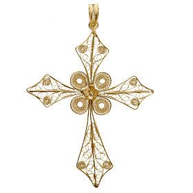 Pendente croce punta filigrana arg. 800 bagno oro - 4,2 gr. s1