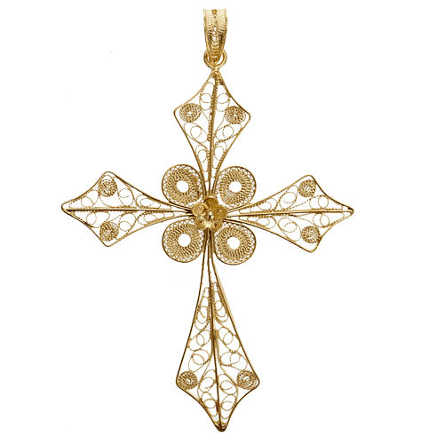 Pendente croce punta filigrana arg. 800 bagno oro - 4,2 gr. 1