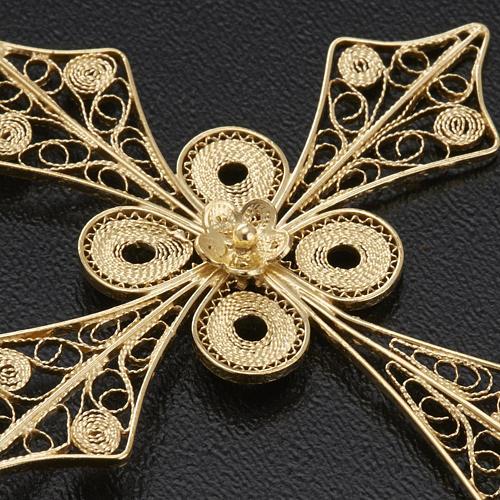 Pendente croce punta filigrana arg. 800 bagno oro - 4,2 gr. 5