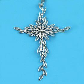 Dije de cruz en filigrana de plata 800 pesa 5,9 gr s2