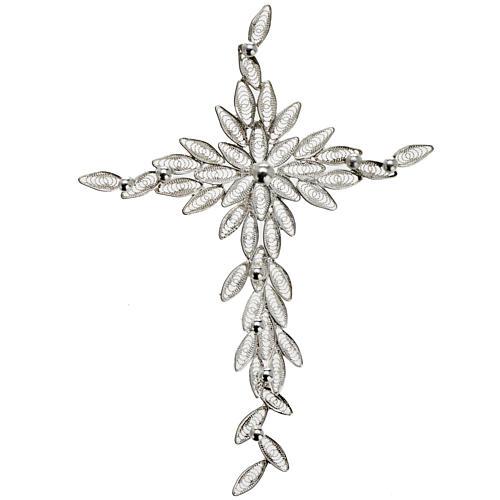 Dije de cruz en filigrana de plata 800 pesa 5,9 gr 1