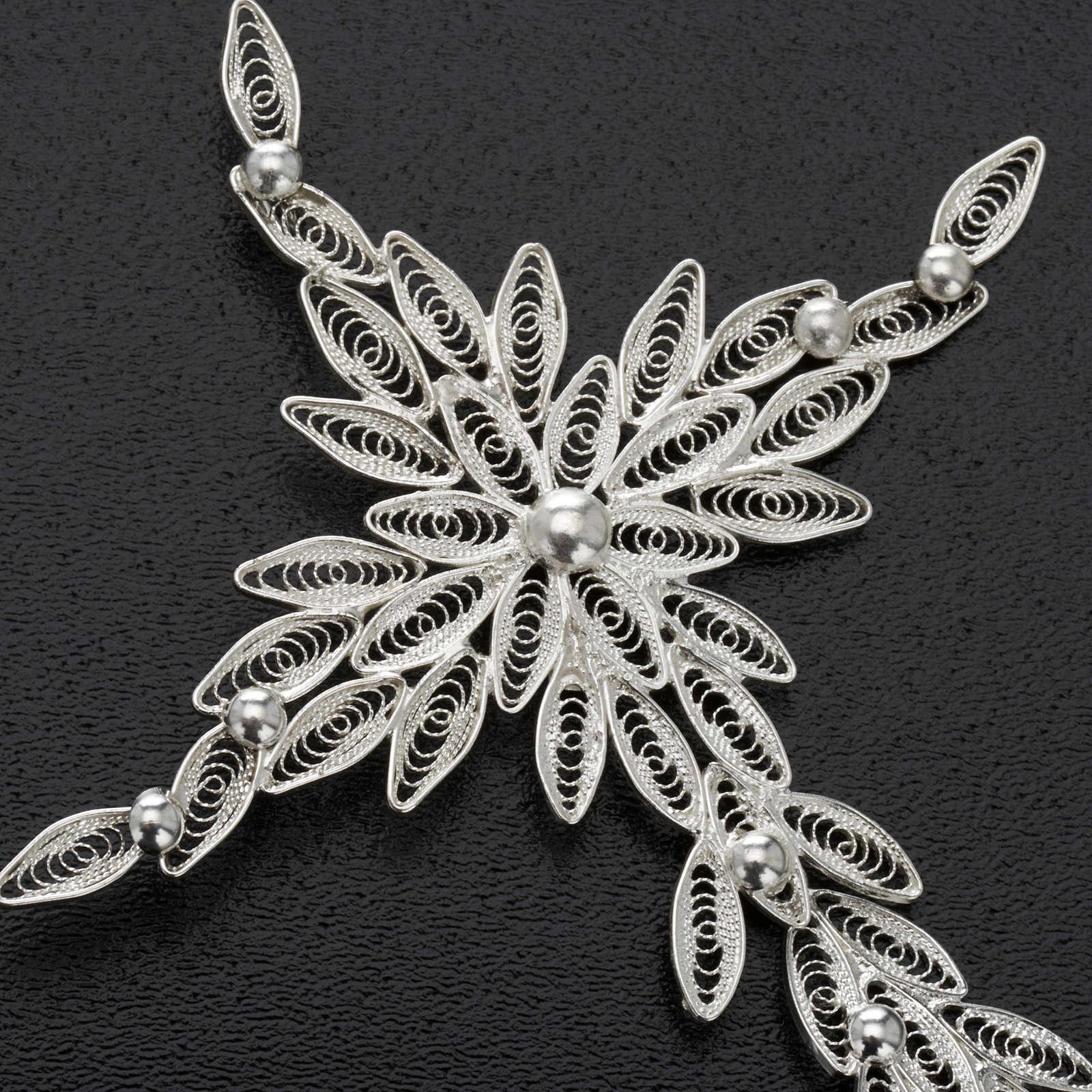 Pingente cruz estilizada filigrana prata 800 5,9 g 4