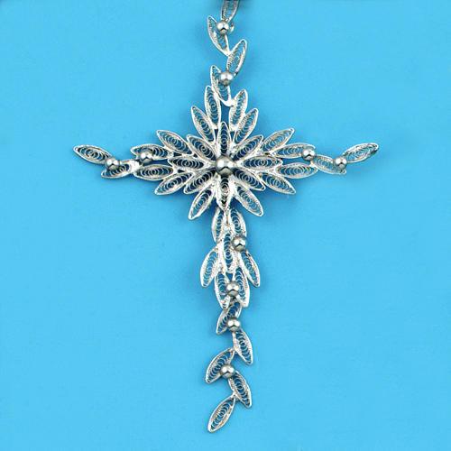 Pingente cruz estilizada filigrana prata 800 5,9 g 1