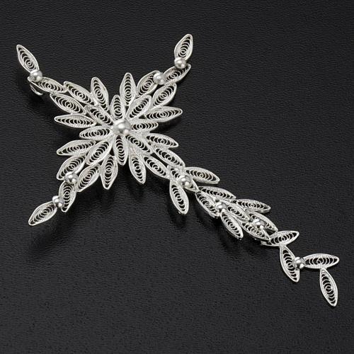 Pingente cruz estilizada filigrana prata 800 5,9 g 3