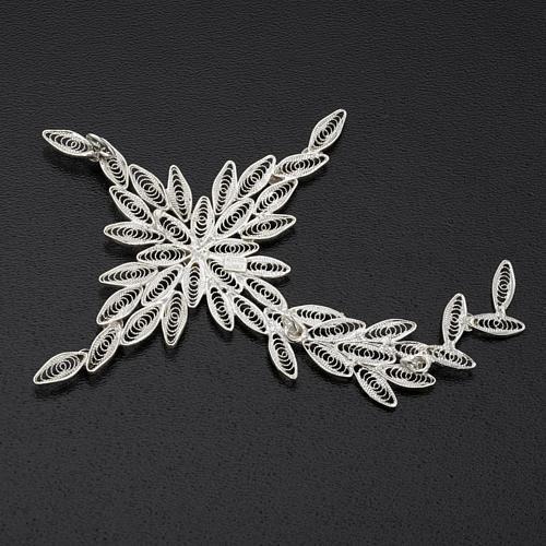 Pingente cruz estilizada filigrana prata 800 5,9 g 6