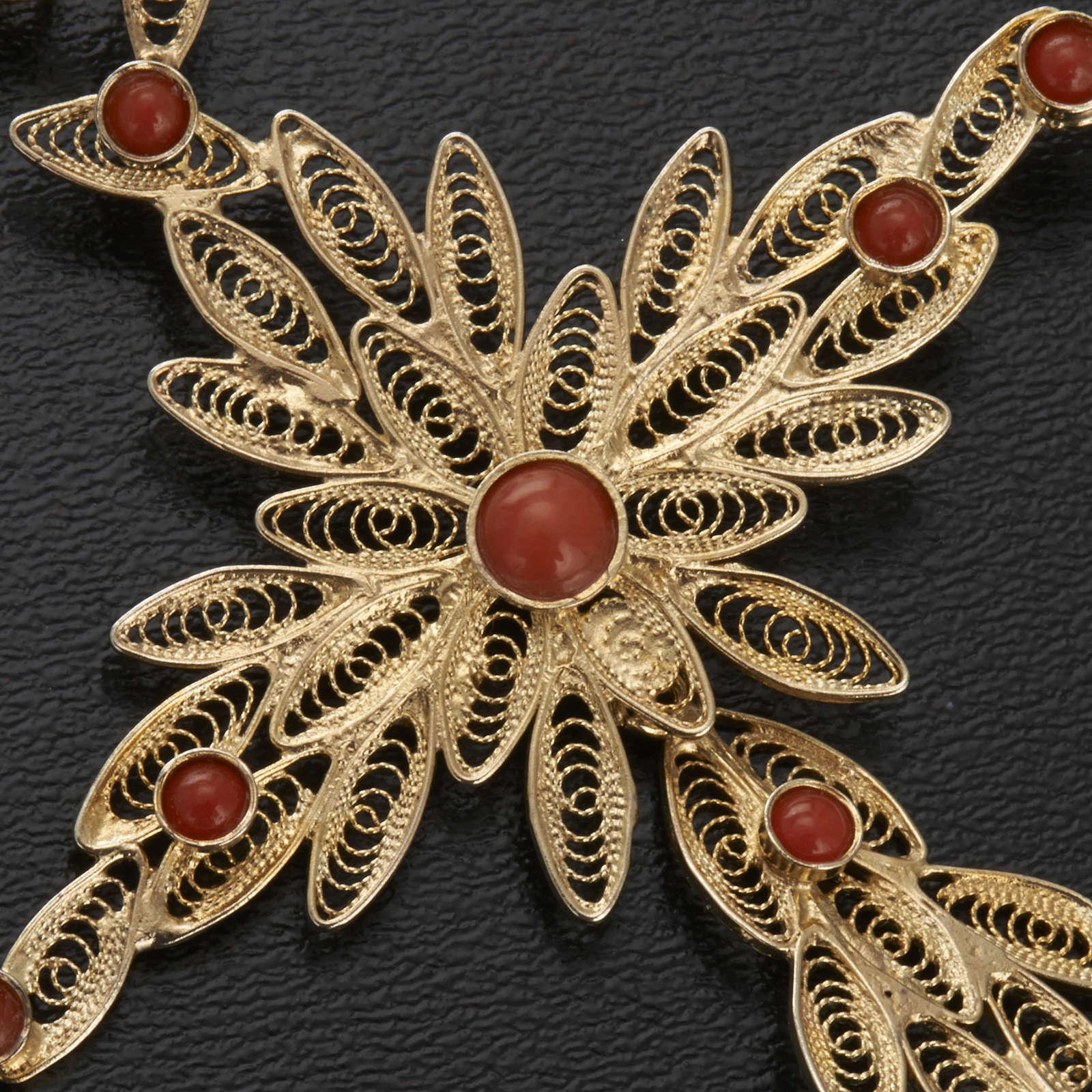 Pendentif croix stylisée filigrane argent800 corail 7,9gr 4