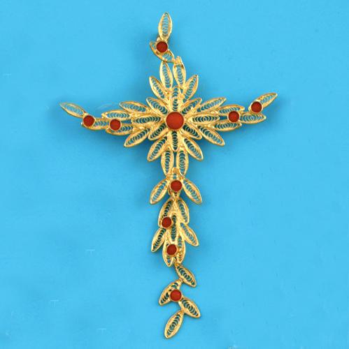 Pendentif croix stylisée filigrane argent800 corail 7,9gr 2
