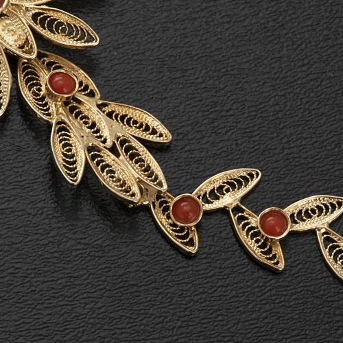 Pendentif croix stylisée filigrane argent800 corail 7,9gr 6