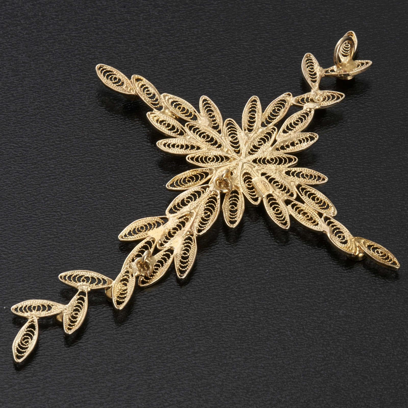 Pendente croce stilizzata filigrana arg. 800 corallo - 7,9 gr. 4