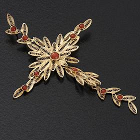 Pendente croce stilizzata filigrana arg. 800 corallo - 7,9 gr. s3