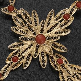 Pendente croce stilizzata filigrana arg. 800 corallo - 7,9 gr. s4