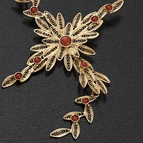 Pendente croce stilizzata filigrana arg. 800 corallo - 7,9 gr. s5