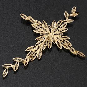 Pendente croce stilizzata filigrana arg. 800 corallo - 7,9 gr. s7