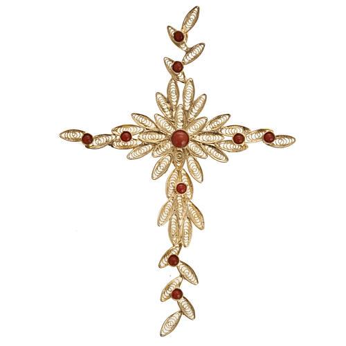 Pendente croce stilizzata filigrana arg. 800 corallo - 7,9 gr. 1