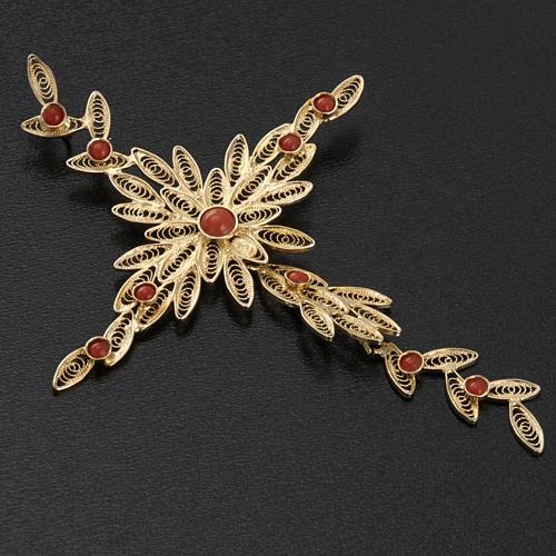 Pendente croce stilizzata filigrana arg. 800 corallo - 7,9 gr. 3