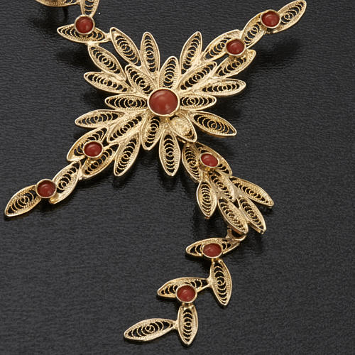 Pendente croce stilizzata filigrana arg. 800 corallo - 7,9 gr. 5