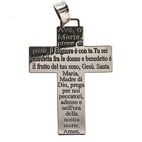 Croix pendentif argent 925 Je vous salue Marie ITA s1