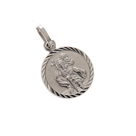 Round Medal in silver 925, Saint Christopher, 1,5 cm s1