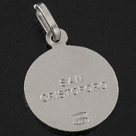 Round Medal in silver 925, Saint Christopher, 1,5 cm s3