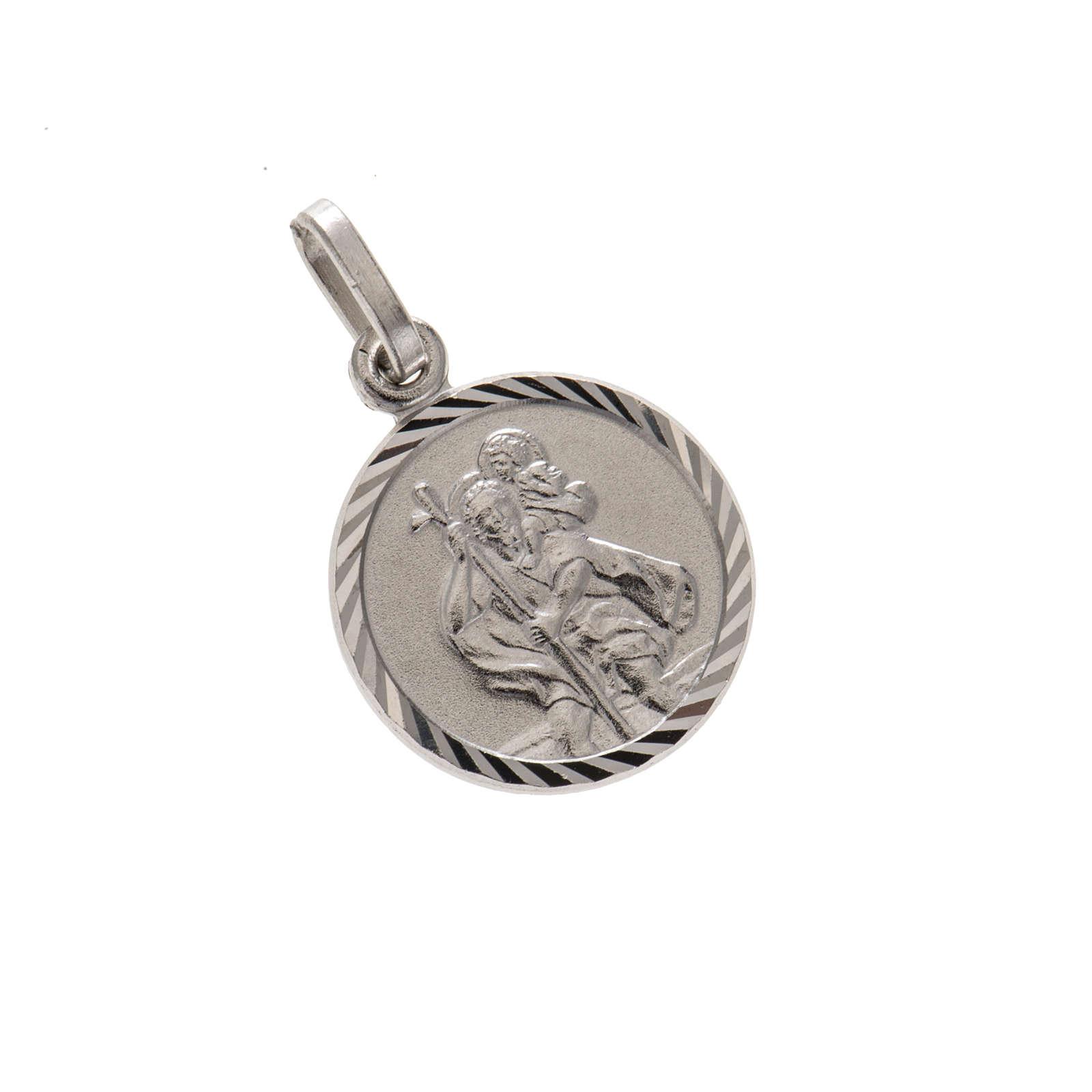 Medaglia tonda argento 925 San Cristoforo 1,5 cm 4