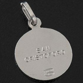 Medaglia tonda argento 925 San Cristoforo 1,5 cm s3