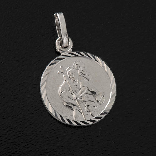 Medaglia tonda argento 925 San Cristoforo 1,5 cm 2