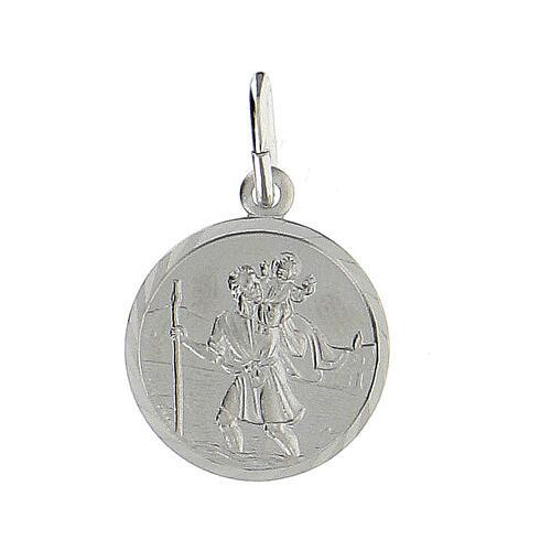 Medaglia tonda argento 925 San Cristoforo 1,5 cm 1