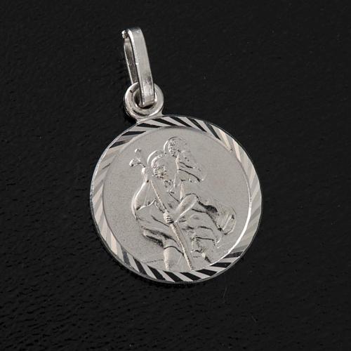 Medalha redonda prata 925 São Cristóvão 1,5 cm 2