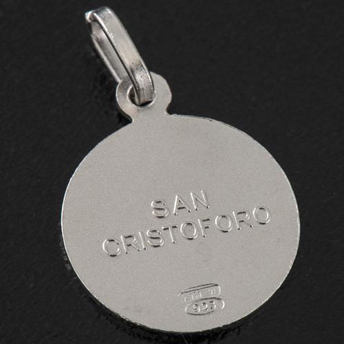 Medalha redonda prata 925 São Cristóvão 1,5 cm 3