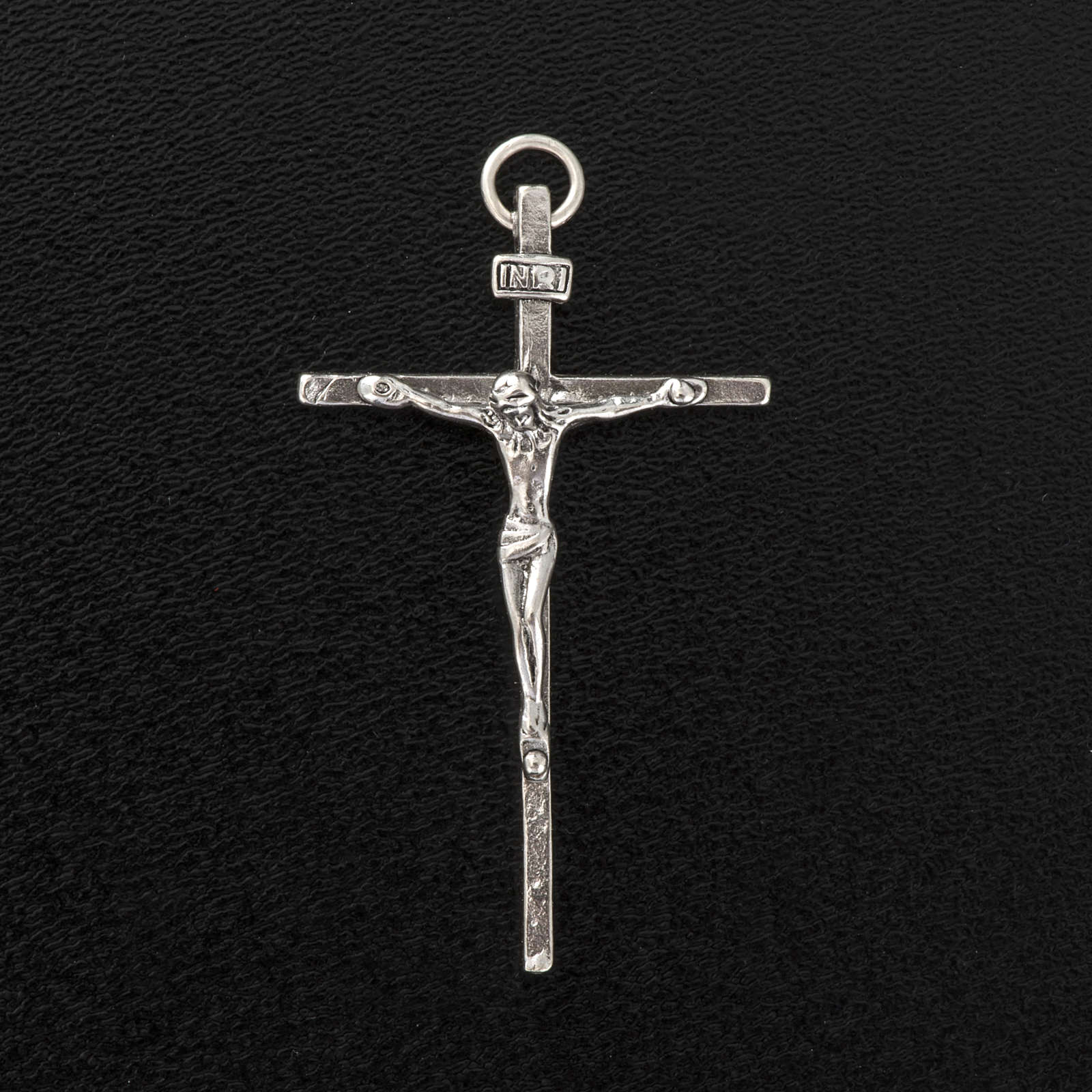 Pendente crocifisso argento 925 satinato h 4,5 cm 4