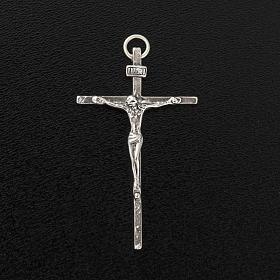 Pendente crocifisso argento 925 satinato h 4,5 cm s3