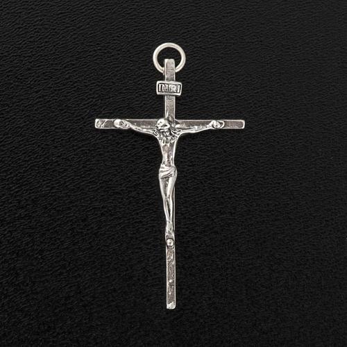 Pendente crocifisso argento 925 satinato h 4,5 cm 3