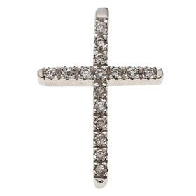 Croix argent 925 strass 3 cm s1