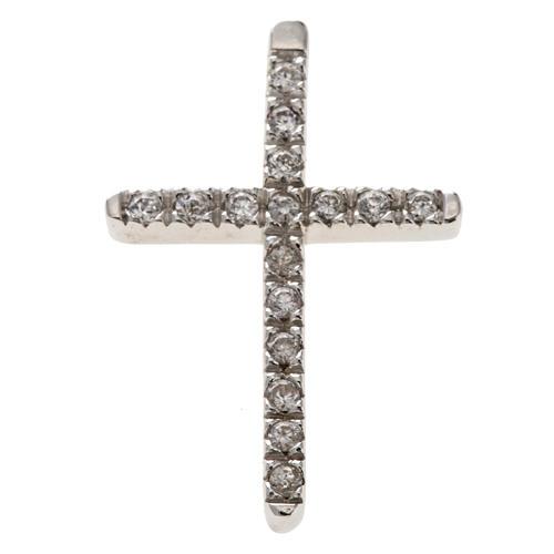 Croix argent 925 strass 3 cm 1