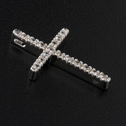Croix argent 925 strass 3 cm 2
